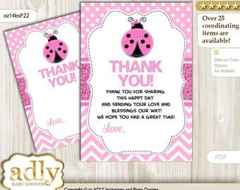 Girl Ladybug Thank you Card Printable for Baby Girl Shower or Birthday DIY Pink Black, Polka - oz14bsP22