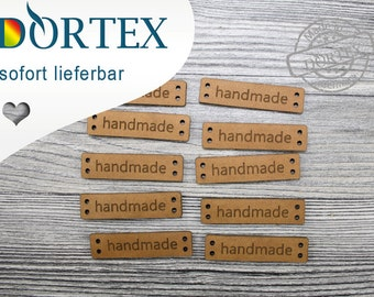 10 Leather labels, handmade