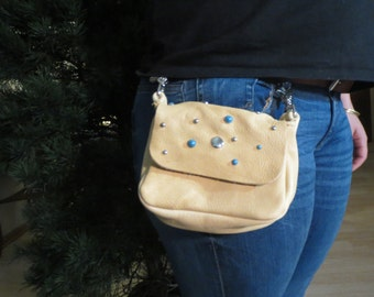 Rustic Deerskin Belt Loop Gusset Hip Bag, Antique Cream with Turquoise Studs