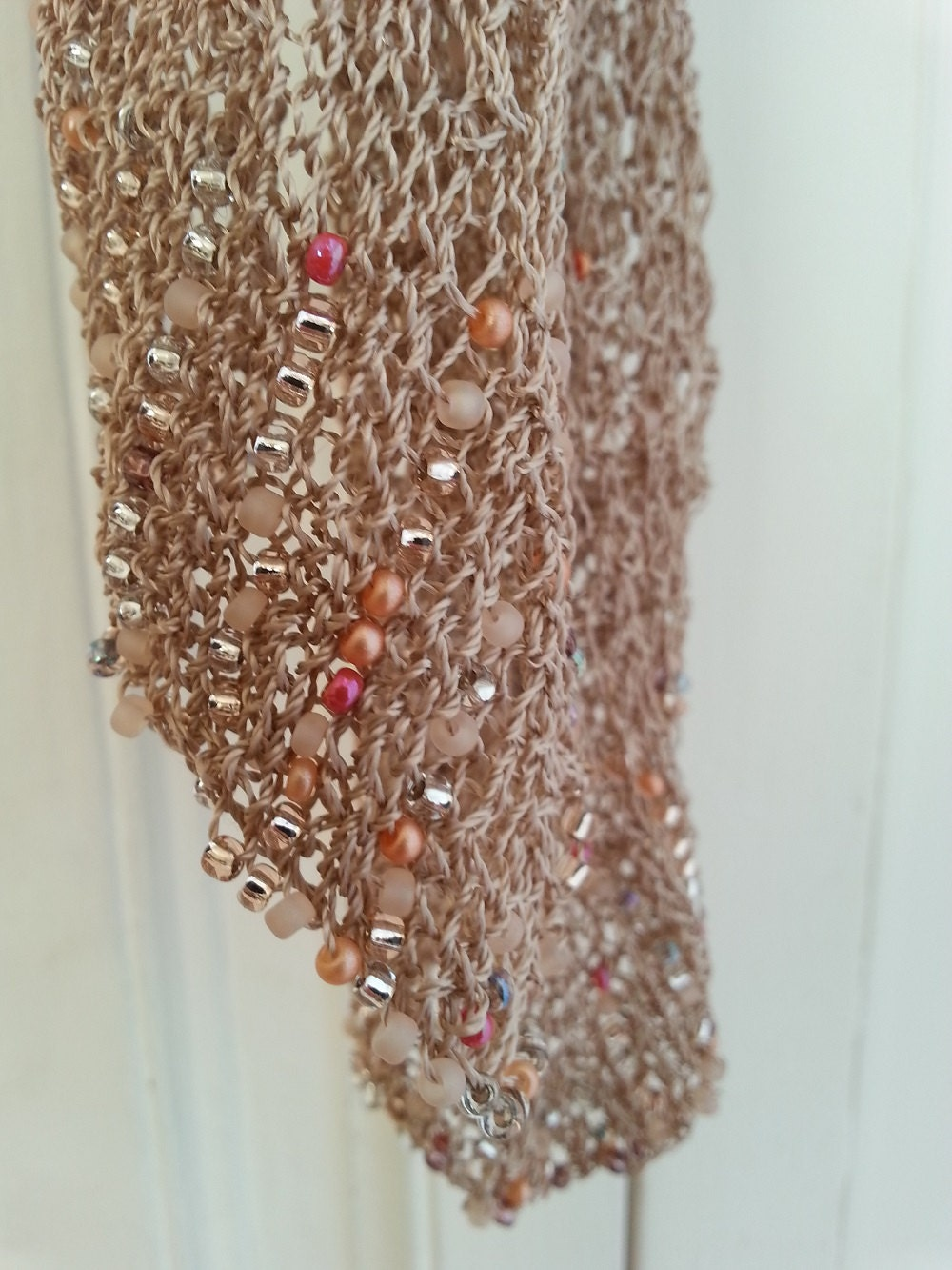 Knitting Pattern PDF for Daisy Beaded Scarf is a glamorous