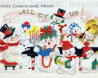 Retro Snowman Family Playing Christmas Carols Music From All Of Us Christmas Card #564 Digital Download