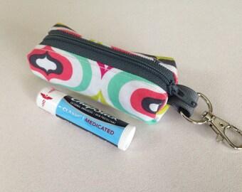Chapstick holder lip balm zipper pouch - mini zippered ear bud holder