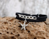 Trendy bracelet set, macrame bracelet, starfish charm, black jewelry, gift for women, friendship jewellery