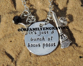 ON SALE Its just a bunch of hocus pocus necklace pendant hand stamped