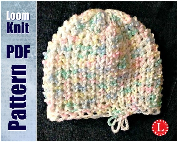 Loom Knit Baby Hat Tutorial : Loom knit baby hat tiny heart stitch pattern with video