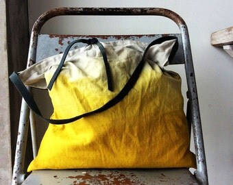 Ombre linen and leather tote bag