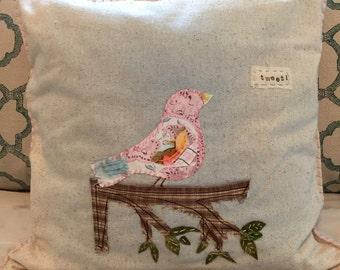 Little Tweet Bird Pillow 14x14 by Renee Brennan, Bird pillow, vintage material, woodland, children's room, bird art,