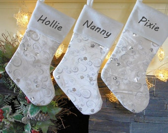 Silver Embroidered Personalised Christmas Stockings - embroidered with any name