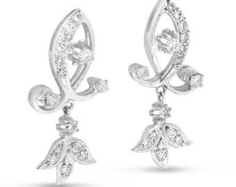 1.00 CT Elegant Natural Diamond Fancy Drop Earrings in Solid 14k White Gold