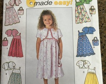 NEW UNCUT pattern for girls sundress, jacket and tote sizes 3 - 8