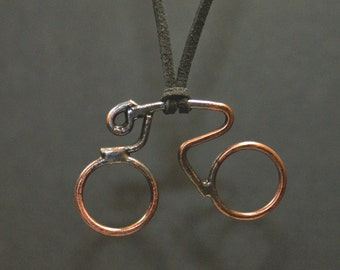 Cyclist Pendant Necklace // Handmade Cyclist Copper