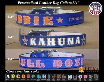 """Blue Leather Dog Collars Personalized - Custom 3/4"""" Leather Dog Collar with colored letters  - Cool Medium Dog Leather Collars - made im USA"""