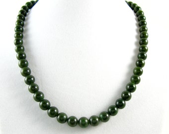 Vintage Nephrite Green Jade Bead Necklace. Single Strand Dark Green Spinach Jade Necklace