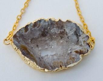 Gold Plated Geode Druzy Slice Choker