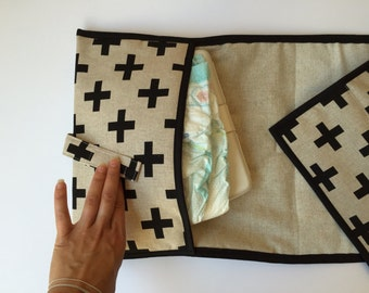Diaper clutch - Changing pad - black cross All-in-One 100% cotton -