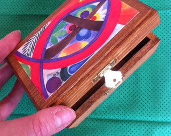 """Wooden Prayer and Blessing Box - FREE SHIPPING - with colored pencils and paper - Original art print """"ICTHYS (Big Fish)"""" embellishing lid"""