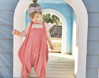 Coral romper jumper playsuit baby toddler girls harem romper fringe tassles Sizes 6m-4T