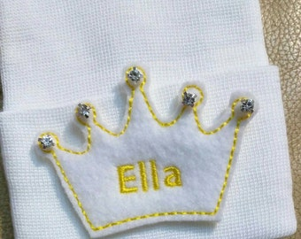 Newborn Hospital Hat Monogramed with Name! 1st Keepsake! Super Cute! Monogrammed Tiara on White Hat! With Rhinestones.Great Gift!