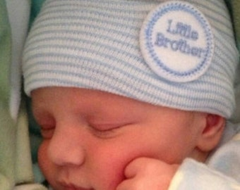 A Best Seller! 2 Ply Newborn Hospital Hat. Baby Boy LITTLE BROTHER. Newborn Beanie. Every New Baby Boy Should Have! Adorable!