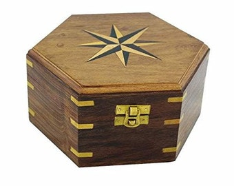Maritime wooden box / chest / treasure box - Marquetry / brass hinges 18 cm/7,1 inches