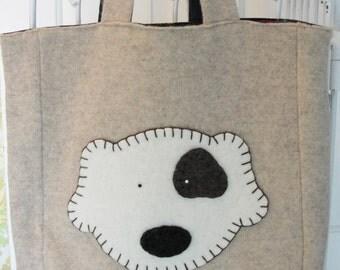 Puppy Appliqued Tote Bag