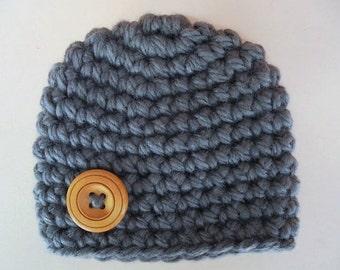 Crochet baby hat, baby boy hat, newborn boy hat, gray baby hat, newborn crochet hat, baby boy beanie, newborn boy outfit,  baby button hat