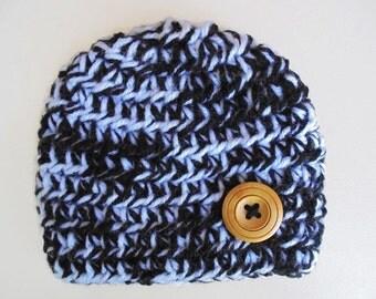 Baby boy hat White and black hat Newborn boy hat Button baby hat Winter boys hats Baby hat Newborn crochet hat Crochet baby hat Hospital hat