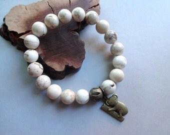 Howlite Koala charm stretch Bracelet