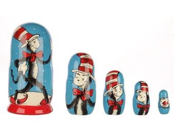 Dr Seuss Cat in the hat babushka nesting dolls