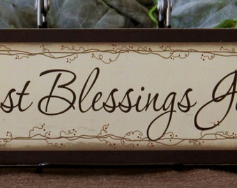 Our Greatest Blessings Gather Here! Family Inspirational Primitive Country Wood Sign Block Home Decor gift