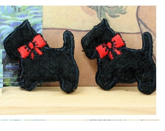 Wholesale bulk lot  30pcs   black small cartoon dog puppy  embroidered iron on patch boy apprarel diy sewing 2.5cm