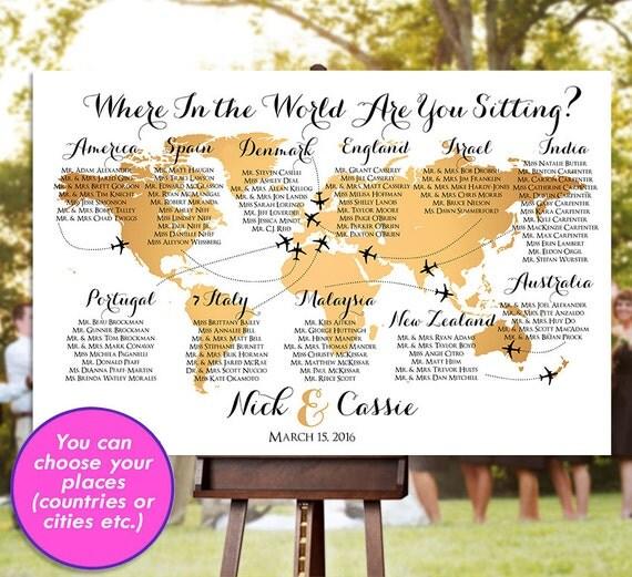 Wedding seating chart rush service gold world map plane like this item gumiabroncs Choice Image