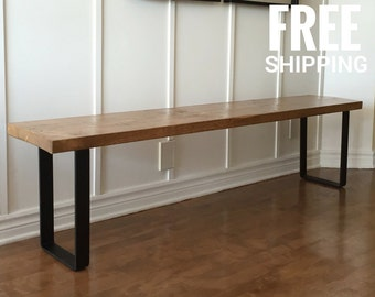 Industrial Wooden Bench | Reclaimed Wood Bench | Dining Bench, Entry Bench  | Free Shipping
