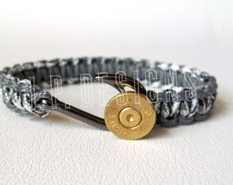 BULLET FISHHOOK™, Survival, Paracord, Hunting, Outdoor, Military, Men's Bracelet, Urban Camo & Gray