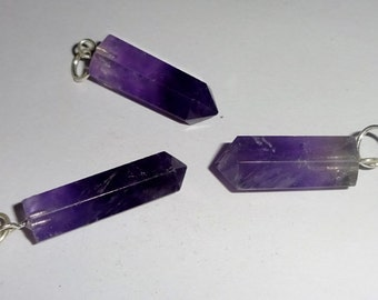 3pc #3 Natural Amethyst Healing Crystal Cut Polished Gemstone Pre Looped Point Pendant