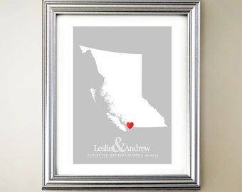 British Columbia Custom Vertical Heart Map Art - Personalized names, wedding gift, engagement, anniversary date