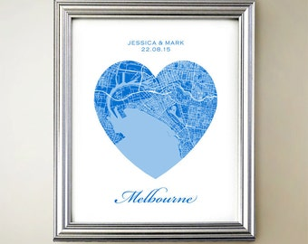 Melbourne Heart Map - Choose your color and size