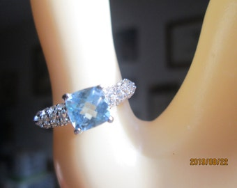 Designer Sterling Silver 1.73ctw Rose Cushion Cut  Genuine Blue & White Topaz Ring Size 7, Wt. 2.6 Grams