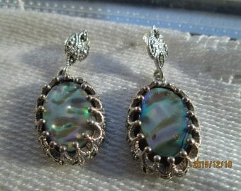 Handcrafted 8.50ctw Genuine Abalone and Marcasite Sterling Silver Dangle Earrings, Wt. 8.3 Grams