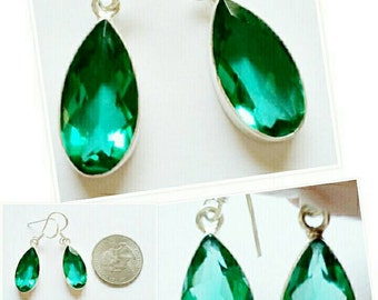 Quartz Apatite gemstone 925SS solid sterling silver earrings.