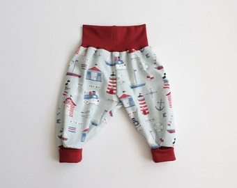 Baby harem pants. Light blue bubble pants with lighthouses. Comfy slouchy infant pants with red fold over waistband and cuffs.