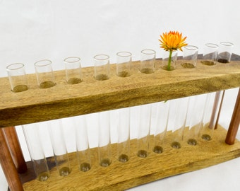 Test tube vase made from reclaimed timber and copper. Genuine scientific test tubes.
