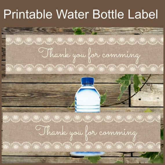 Burlap And Lace Water Bottle Label DIY Instant By IsiDesigns