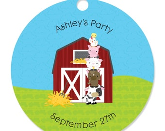 Farm Animals Personalized Party Tags - Baby Shower or Birthday Party DIY Craft Supplies- 20 Count