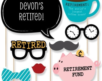 20 Retirement Photo Booth Props - Retirement Photobooth Kit with Custom Talk Bubble for any Party