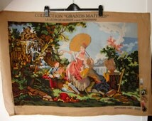 VINTAGE PRINTED CANVAS / Uncompleted canvas / Large tapestry / Needlework tapestry / Supplies / Craft supplies / Embroidery / Sewing