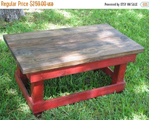 On Sale Rustic Coffee Table In Red And By Dougandcristydesigns