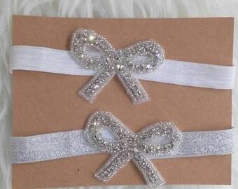 Crystal rhinestone beaded bow flower girl headband