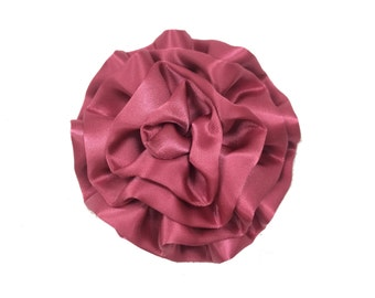 "3"" Cabbage Flower Heads, Wholesale Satin Flowers for Flower Head Bands, Lot of 1, 2, 5 or 10, Maroon"