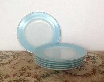 Vintage Pyrex Set of 6 Side Plates. Duck Egg Blue. 1960's.